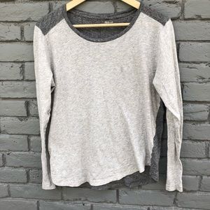 Madewell Two Tone Gray Boatneck Blouse sz L